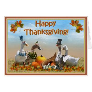 Peregrino de la acción de gracias y patos indios tarjeta de felicitación