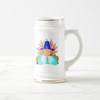 Peregrino en la acción de gracias jarra de cerveza