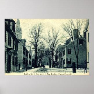 Peregrino Plymouth mA c1908 del St de Leiden Póster