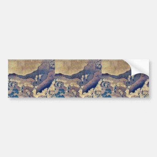 Peregrinos de la escalada por Katsushika, Hokusai Pegatina De Parachoque