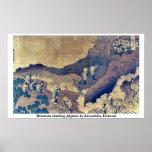 Peregrinos de la escalada por Katsushika, Hokusai Posters