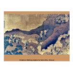 Peregrinos de la escalada por Katsushika, Hokusai Tarjeta Postal
