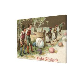 Peregrinos que señalan los huevos de Pascua Lienzo Envuelto Para Galerías