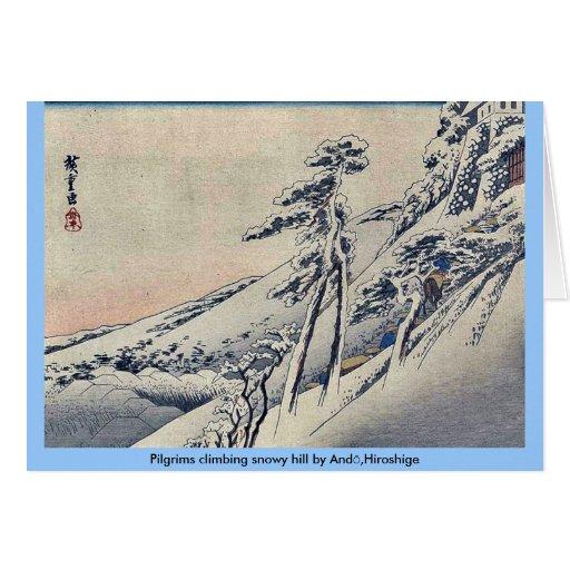 Peregrinos que suben la colina nevosa por Andō, Hi Felicitaciones
