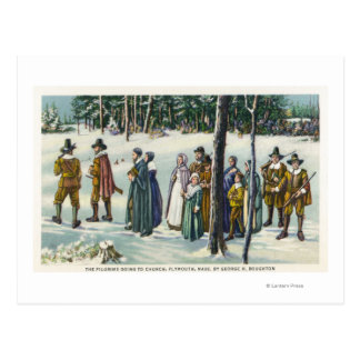 Peregrinos que van a la iglesia en la escena de la tarjeta postal