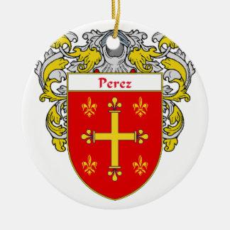 Perez Coat of Arms/Family Crest Ceramic Ornament