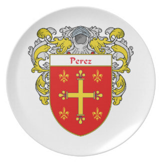Perez Coat of Arms/Family Crest Dinner Plate