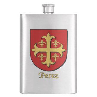 Perez Heraldic Shield Hip Flasks