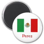 Perez Mexican Flag 2 Inch Round Magnet