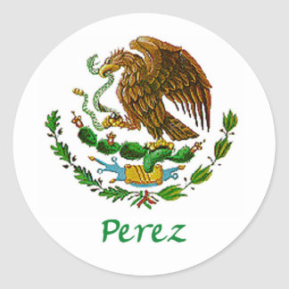 Perez Mexican National Seal Round Stickers