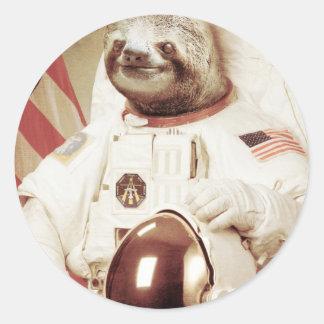 Pereza del astronauta etiqueta redonda