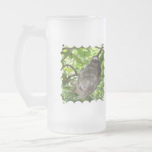 Pereza en árbol taza cristal mate
