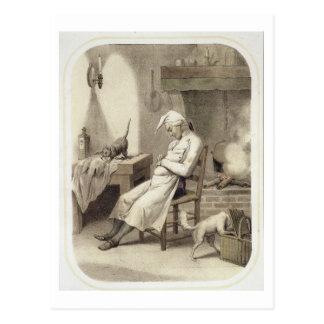 Pereza en la cocina, de una serie de depi de las tarjetas postales