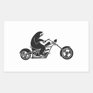 Pereza lenta en una bici rápida rectangular pegatina