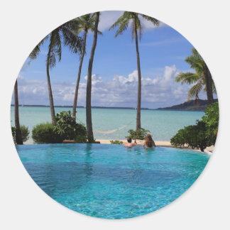 Perfct Infinity pool on Vanilla Islandia Pegatina Redonda