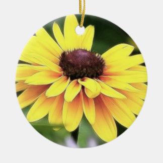 Perfección del jardín - Susan observada negro Adorno Redondo De Cerámica