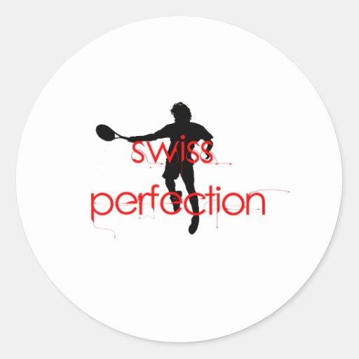 Perfección del suizo de la camiseta de Federer Pegatina Redonda