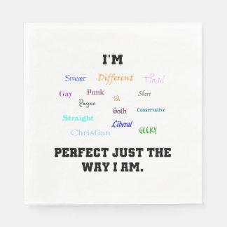 Perfeccione apenas la manera que soy servilletas de papel