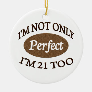 Perfect 21 Year Old Double-Sided Ceramic Round Christmas Ornament