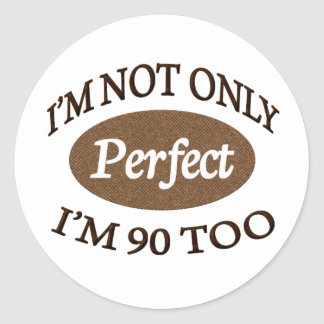 Humorous birthday stickers zazzle perfect 90 year old classic round sticker bookmarktalkfo Images