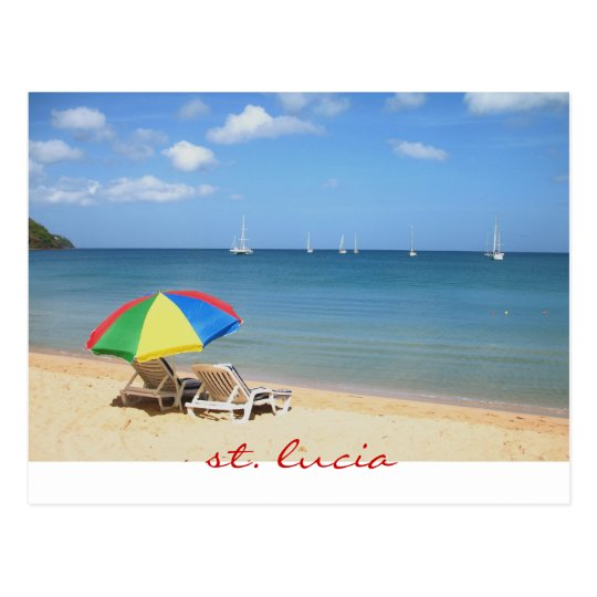 perfect and ideal day in paradise, st. lucia postcard
