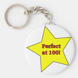Perfect at 100! basic round button keychain