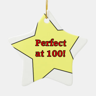 Perfect at 100! Double-Sided star ceramic christmas ornament