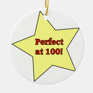 Perfect at 100! Double-Sided ceramic round christmas ornament