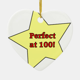 Perfect at 100! Double-Sided heart ceramic christmas ornament
