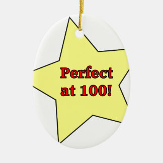 Perfect at 100! Double-Sided oval ceramic christmas ornament
