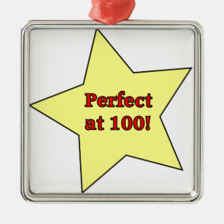Perfect at 100! square metal christmas ornament