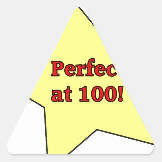 Perfect at 100! triangle sticker
