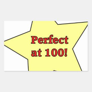 Perfect at 100! rectangular sticker