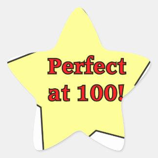 Perfect at 100! star sticker