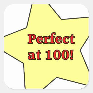 Perfect at 100! square sticker