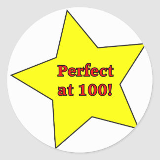 Perfect at 100! classic round sticker