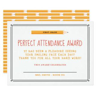 Perfect Attendance Award Card