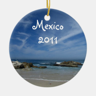 Perfect Beach; Mexico Souvenir Double-Sided Ceramic Round Christmas Ornament
