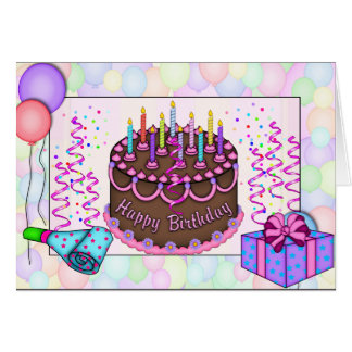 Perfect  Birthday Cake Invitation For A Women Greeting Card