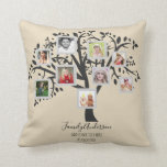 """Perfect BIRTHDAY Gift - FAMILY TREE PHOTO COLLAGE Throw Pillow<br><div class=""""desc"""">This wonderful unique birthday gift can be gifted for ANY birthday, simply edit the text to suit your needs. ADD photos and milestone/commemorative text to create a unique keepsake gift for the birthday man or woman. This family tree photo collage gift can also be gifted for retirement, wedding anniversary (add...</div>"""