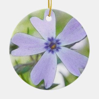 Perfect Blue Creeping Phlox Flower Ceramic Ornament