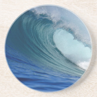 Perfect blue ocean surfing wave beverage coasters