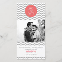 Perfect Chevron Coral & Gray Save The Date Photo