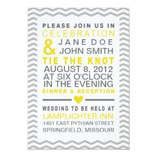"Perfect Chevron Yellow & Grey 5"" X 7"" Invitation Card"
