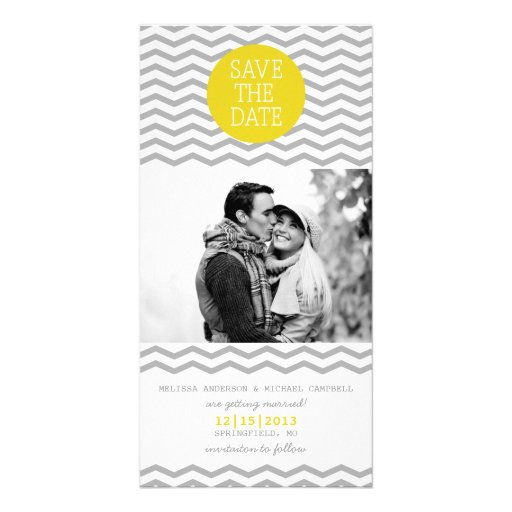 Perfect Chevron Yellow & Grey Save The Date Photo Photo Card Template