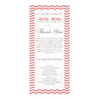 Perfect Chevron/Zig Zag Wedding Program in Coral Personalized Rack Card