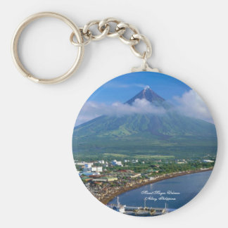 Perfect Cone of Mount Mayon Volcano, Philippines Basic Round Button Keychain