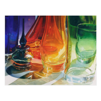 """Perfect Curves"" Art Glass Watercolor Postcard"