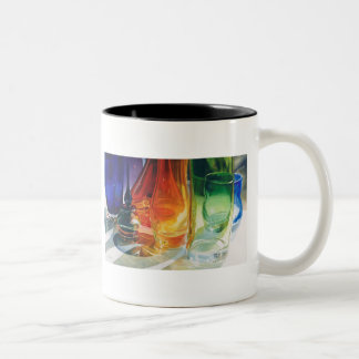 """Perfect Curves"" Art Glass Watercolor Two-Tone Coffee Mug"