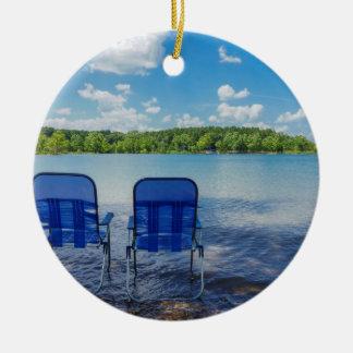 Perfect Day At The Lake Ceramic Ornament